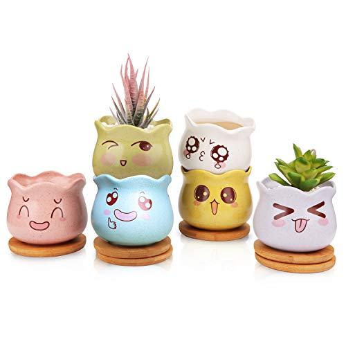 Ufrount Ceramic Succulent Planter Pot with Drainage,Cartoon Expression Planter Pots,Planting Pot,Flower Pots for Mini Plant Ceramic Flowing Glaze Base Serial Set with Drainage Holes-Set of 6(6 Colors)