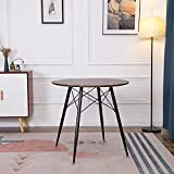 IPOTIUS Mesa de Comedor Redonda Moderna para 2-4 Personas, Mesa de Cocina, Patas de Metal Negro y Listones de Metal, 80 x 75 cm, Nueces