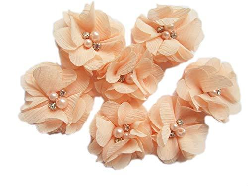 YYCRAFT 20 Pieces 2' Chiffon Flower with Rhinestone Pearl for Wedding Bridal Hair Accessory/DIY Craft Projects-Peach