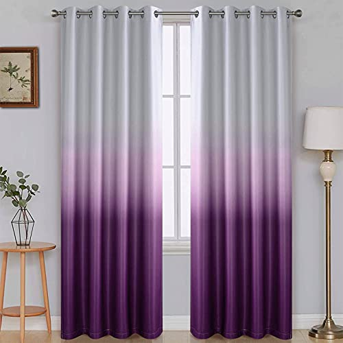 SimpleHome Gradient Color Ombre Room Darkening Curtains Blackout Purple Thermal Insulated Eyelet Top Panels Grommet Window Drapes for Living Room / Bedroom, Purple,52x84 inches