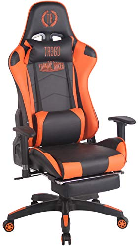 CLP Sedia Gaming Turbo in Similpelle Stoffa O Similpelle Effetto Metallico I Poltrona Racing, Colore:Nero/Arancione,...