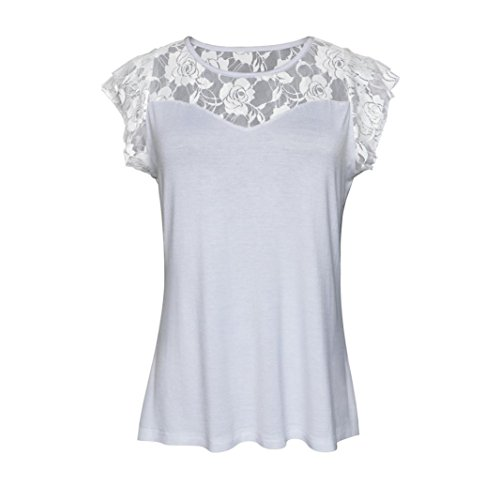 OverDose Damen Casual Sommer Patchwork Spitze Rose Tops T Shirt Oberteile Frauen Solid T-Shirt Bluse(Weiß,EU-48/CN-3XL)