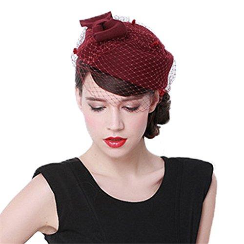 doublebulls hats Frauen Mädchen Modisch Blumen Im Haar Zeremonie Kopfbedeckung Kleine Hut Barett Weinrot