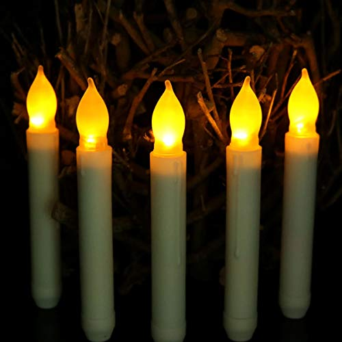 XXLYY 12pcs AA Battery Operated Yellow Taper Candles Flameless Unity Candles Mini Flickering Emergency Candle Led Long Burning for Centerpieces Chandelier Jars Holder