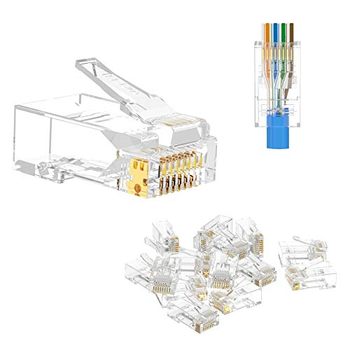 VCE 50 Pezzi Connettori Ethernet RJ45 Passante Cat6 LAN Plug RJ45 Cat6