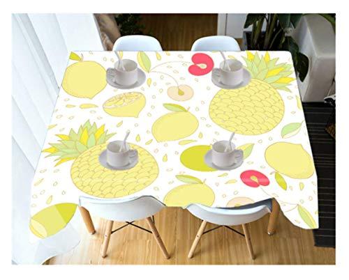 DitiaoBlanket tafelkleed van polyester, stofwerend, 3D-print, citroen, tafeldecoratie, voor avondeten, picknick, G