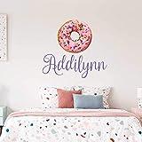 Custom Name Donut Nursery Wall Decal - Girls Personalized Name Sprinkles Donut Wall Sticker - Custom Name Sign - Custom Name Stencil Monogram - Girls Nursery Wall Decor