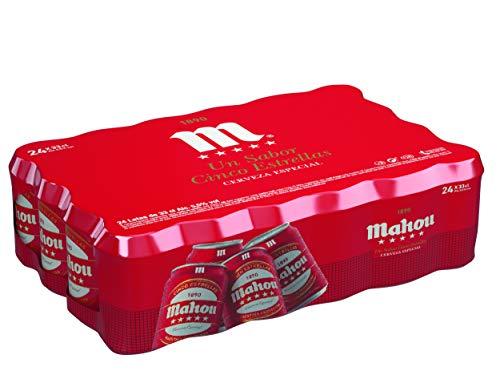 Mahou 5 Estrellas Cerveza Dorada Lager, 5.5% de Volumen de Alcohol - Pack de 24 x 33 cl