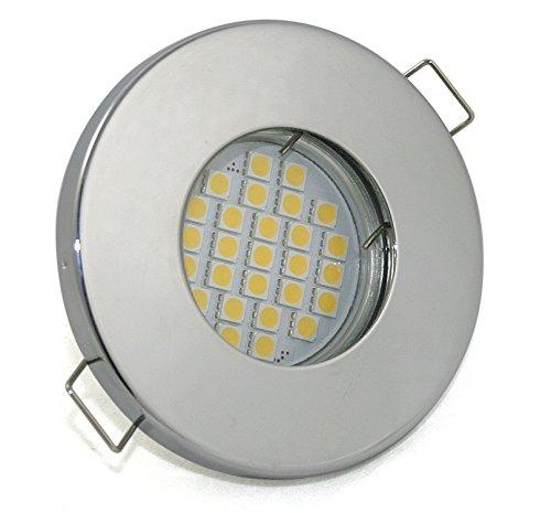 LED Bad Einbaustrahler Set 230V IP65 Farbe Chrom inkl. GU10 5Watt LED 2700Kelvin warm-weiß 450Lumen Leuchtmittel austauschbar nicht rostend