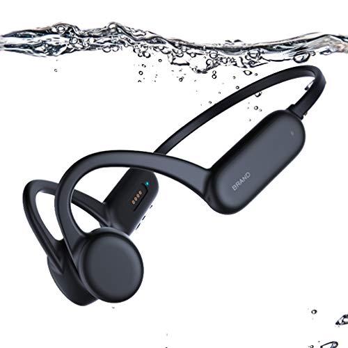 AQUYY Bone Conduction Bluetooth 5.0 Schwimmen Kopfhörer, 8GB Schwimm MP3-Player, IPX8 wasserdichte Kabellos Sportkopfhörer, Unterwasser Headset mit Offenem Ohr für Laufen Radfahren Fitnesss Black