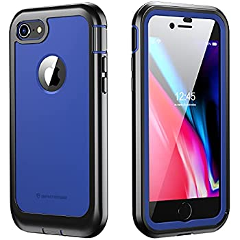 iPhone 7/8 Case ImpactStrong Ultra Protective Case with Built-in Clear Screen Protector Full Body Cover for iPhone 7 2016 /iPhone 8 2017  Navy Blue