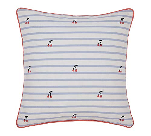 Joules Hollyhock Floral Cushions, 100% COTTON CANVAS, Denim, 40 x 40 cm