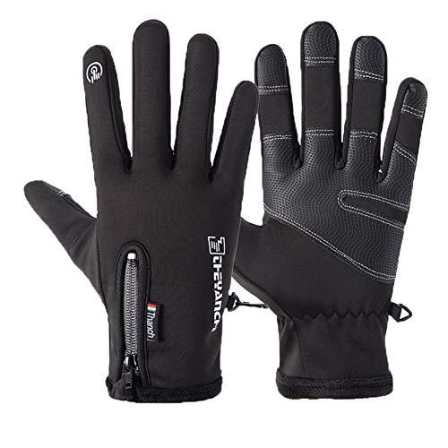 YONKINY Guanti da Sci Uomo Unisex Invernali Antivento Impermeabile Guanti Touchscreen Guanti per Moto,MTB,Ciclismo,Bici,Snowboard (Nero, Large)