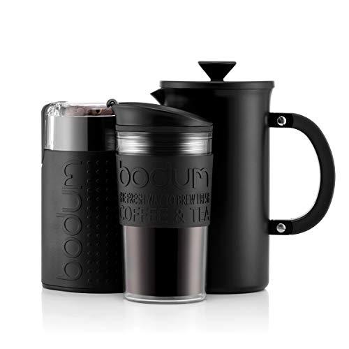 BODUM-KAFFEESET – Cafetière-Kaffeebereiter (1 Liter/8 Tassen) aus Edelstahl, doppelwandiger Reisebecher und elektrische Kaffeemühle - Schwarz