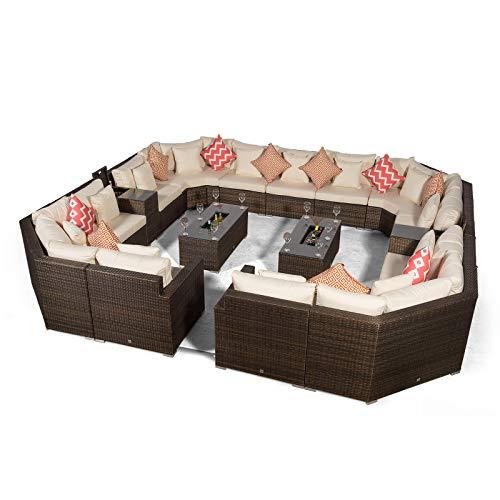 Giardino Santorini Large 13 Seater Brown Rattan Sofa Set + 2 Drinks Cooler Coffee Tables & Armrests + Outdoor Rattan Furniture Cover | Modular Poly Rattan Garden Sofa Set | Outdoor Conversation Set