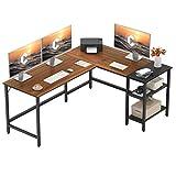 CubiCubi L-Shaped Office Desk, Modern Computer Corner Desk Writing Study Table with Storage Shelves, Space-Saving, Espresso