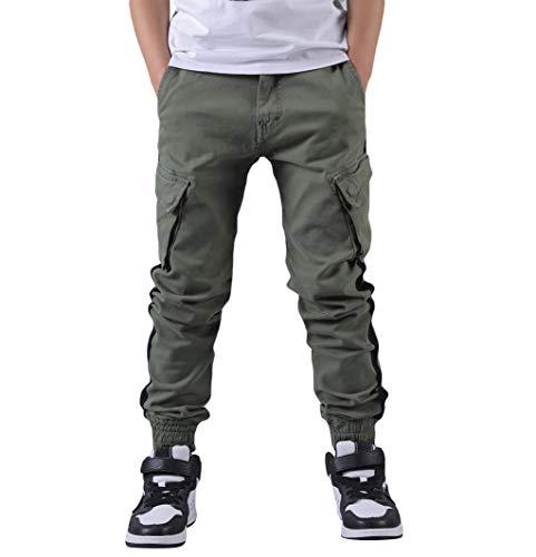 CAMLAKEE Kinder Jogger Hose Jungen Cargohose Slim Fit mit Seitenstreifen und Verstellbarer Taille, Armeegrün, 116 / Größe 8