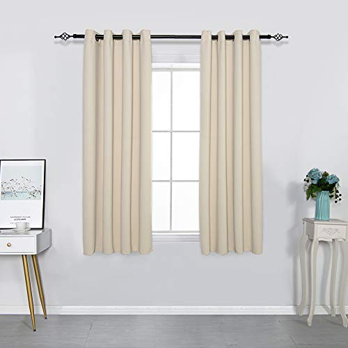 FULAN Beige Thermal Insulated Grommet Top Room Darkening Panels Curtains for Small Windows Bedroom (1 Pair, W52 x L63 inches, Biscotti Beige)