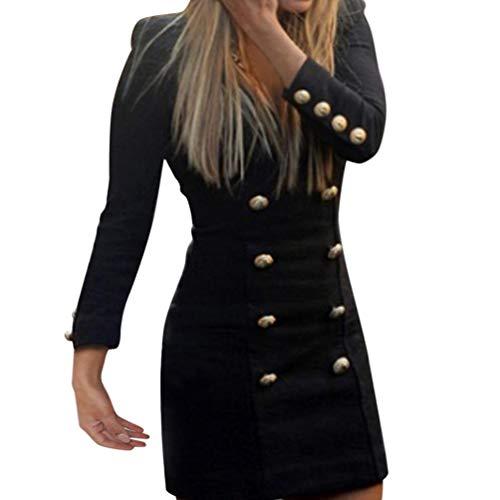 Geili Damen Elegant Langarm Zweireiher Schwarz Minikleid Etuikleid Abendkleid Cocktailkleid Sommer Herbst Frühling Slim Fit Solide Kleid
