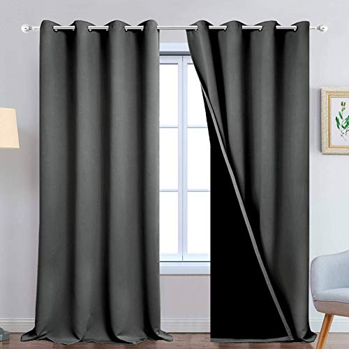 Yakamok 100% Blackout Lined Panels, Thermal Insulated Blackout Curtains for Bedroom, Heat Blocking Drapes for Living Room(52Wx108L, Dark Grey, 2 Panels)