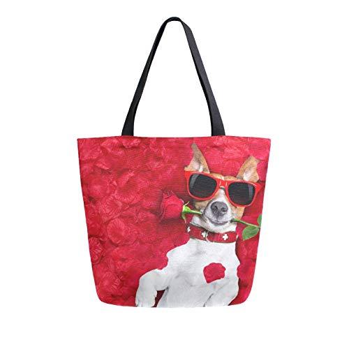 iRoad - Bolsas de lona para mujer, diseño de animales, rosa, para la compra, reutilizable, bolsa de lona grande, para viajes, escuela, trabajo
