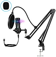 Innoo Tech PC Microphone, USB Condenser Microphone, Professional Recording Plug and Play Microphone Kit with Stand for...