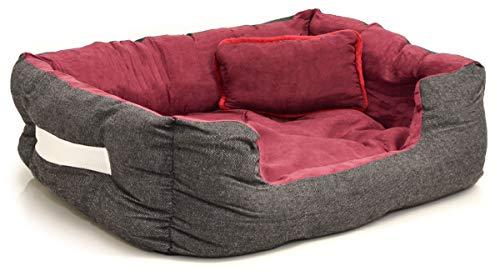 EYEPOWER Katzenbett Hundebett 60x50x18 cm Katzenkissen Hundekissen Waschbar Tierkissen Tierbett Innenkissen Rot Burgunder