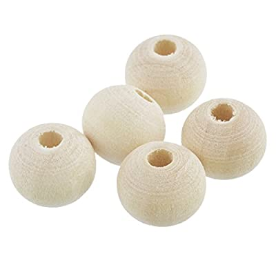 Natural Color Round Wooden Beads Charm for DIY Craft Making