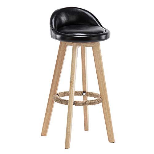 LXYu- Office Chair Tabouret de Bar en Bois Massif siège en Cuir d'unité Centrale Style Nordique capacité de 350 Livres pour l'étude de Restaurant de Salon