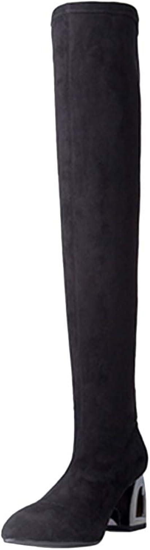 Damenstiefel Oberschenkel Hoch über Dem Knie Chunky Elastic Stiefel Fashion Damen Schuhe