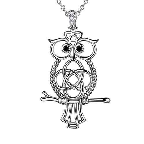 Celtic Owl Necklace Women Men 925 Sterling Silver Nordic Viking Pendant Necklace Celtic Knot Symbol Animal Amulet Jewelry Christmas Gift FP0102W