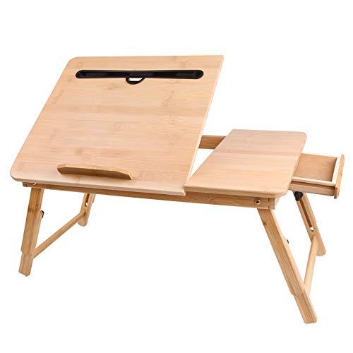 Longko Mesa de Bambú para Portátil, Mesa Plegable y Ajustable para Laptop de 4 Niveles, Bandeja Inclinable para Portátil y Tableta para Escribir, Leer, Comer, Sofá