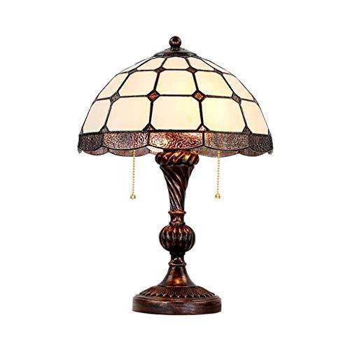 SPNEC Retro Art Deco lámpara de Mesa Antiguo Manchado Pantalla de Cristal utilizados en dormitorios Sala Familiar Mesilla