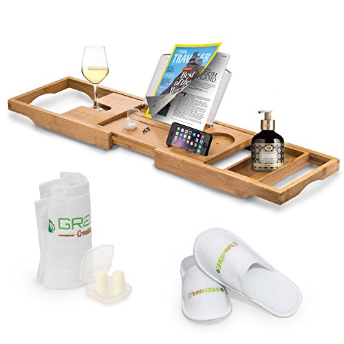 romatlink Bamboo Bath Caddy, Expandable Non Slip Wooden Bathtub Shelf with Wine Glass and Book Holder, Phone Tray, Luxury Bonus: Slippers, Hand Towel and Earplugs, Beige