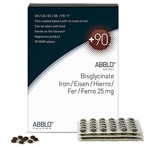 ABBLO Hierro Bisglycinate 25mg. / Amino-Chelated HIERRO 25mg. 1 tableta al día es suficiente (90 tabletas)
