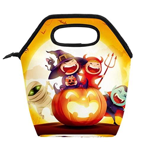 Bolsa de comida para disfraz de Halloween para mujer, bolsa de almuerzo con cremallera aislada para exteriores, bolsa de almuerzo reutilizable para adolescentes