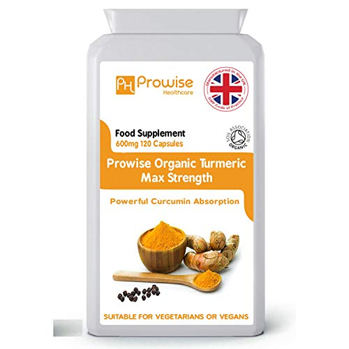 Organic Turmeric Curcumin With Black Pepper 600mg - 120 Vegan & Vegetarian Capsules | Certified Organic by Soil Association | Turmeric Capsules High Strength - UK Made by Prowise Healthcare
