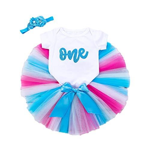 Hinzonek Vestido de bebé recién nacido para niñas de primer cumpleaños, mameluco con volantes, falda tutú, polainas para la diadema