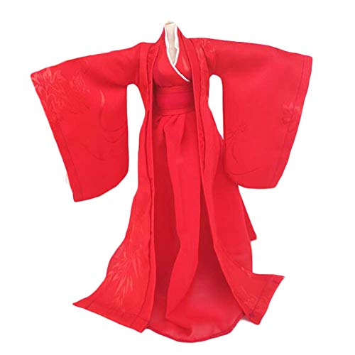 BLANCHO BEDDING Estilo Chino Hecho a Mano Traje Antiguo Vestido de muñeca Ropa de muñeca roja para muñeca de 11.5 Pulgadas
