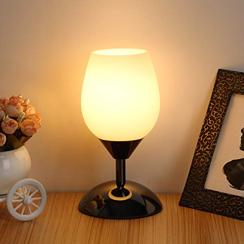 Boncoo Touch Control Table Lamp Dimmable Small Lamp Ambient Light with White...