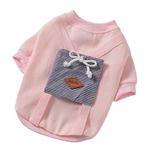 YYDE Ubrania dla zwierząt plus gruby aksamitny sweter płaszcz, psy i koty miękki i wygodny codzienny bawełniany golf t-shirt, moda dla psów, małe zwierzaki, 7 rozmiarów, różowy, XL