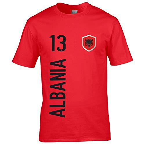 FanShirts4u Herren Fan-Shirt Jersey Trikot - ALBANIEN/Albania/SHQIPËRISË - T-Shirt inkl. Druck Wunschname & Nummer WM EM (5XL, Albania/rot)
