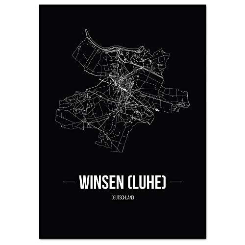 JUNIWORDS Stadtposter, Winsen (Luhe), Wähle eine Größe, 21 x 30 cm, Poster, Schrift B, Schwarz