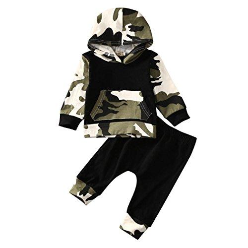 Switchali Ropa Bebe niño otoño Invierno 2017 Infantil Recien Nacido Bebé Niño Tapas encapuchadas Manga Larga Camisetas Camuflaje Blusas + Pantalones Largos Conjuntos de Ropa (70 (0~3meses), Negro)