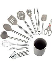 NEXGADGET Utensilios de Cocina de 12 Piezas Antiadherentes Set-12 de Silicona y Acero Inoxidable, Incluye cucharas, batidor, abrelatas, pelador, raspador etc.