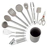 NEXGADGET Küchenhelfer Set, 12-teiliges Küchenzubehör Kochgeschirr Set aus Edelstahl & Silikon, Küchenutensilien Inkl. Zange, Löffel, Schneebesen, Dosenöffner, Schäler, Wender, Schaber, Halter