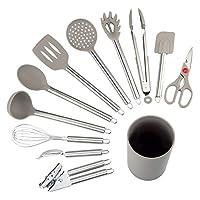 nexgadget set utensili da cucina 12 pezzi nylon strumenti di cottura manico in silicone strumenti di cottura tra cui cucchiaio, turners, pinze, frusta, apriscatole, pelapatate, raschietto…