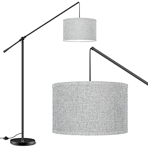 Arc Floor Lamp with Hanging Drum Shade, Modern Standing Lamp Adjustable Height, Simple Design Black Pole Lamps with Foot Switch, Tall Stand Lights for Living Room Bedroom Office Reading, Gray