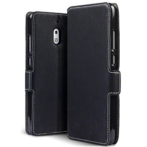 TERRAPIN, Kompatibel mit Nokia 2.1 Hülle, Leder Tasche Hülle Hülle im Bookstyle mit Standfunktion Kartenfächer - Schwarz