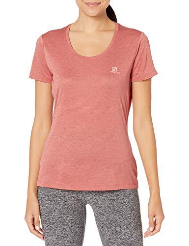 SALOMON Agile SS tee W Camiseta, Mujer, Burnt Coral/Brick Dust/Heather, XL